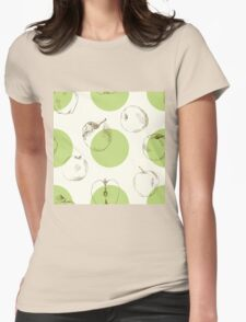 seamless pattern made of scattered decorative apples Womens Fitted T-Shirt