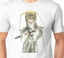 A Halfing Samurai Cat with One Green Eye and One Yellow Eye Unisex T-Shirt