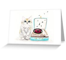 Kitty Got a Record Player Greeting Card