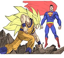 Goku vs Superman by morgangreen76