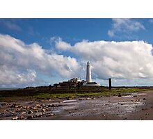 St Mary's Island and Lighthouse Photographic Print