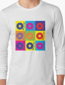 Vinyl Record Player Turntable Pop Art Long Sleeve T-Shirt