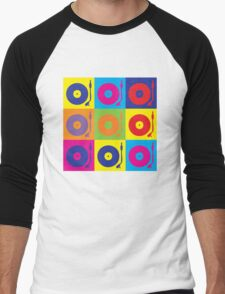 Vinyl Record Player Turntable Pop Art Men's Baseball ¾ T-Shirt