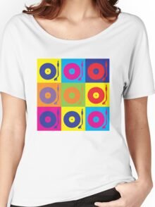 Vinyl Record Player Turntable Pop Art Women's Relaxed Fit T-Shirt