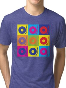Vinyl Record Player Turntable Pop Art Tri-blend T-Shirt