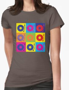 Vinyl Record Player Turntable Pop Art Womens Fitted T-Shirt