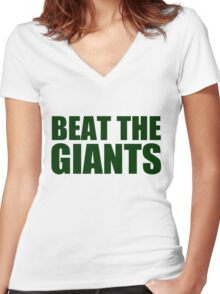 Oakland Athletics - BEAT THE GIANTS Women's Fitted V-Neck T-Shirt