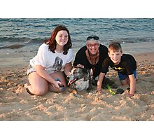 16. Maddy, Linda & Lachlan with their Bitza rescue dog Photographic Print
