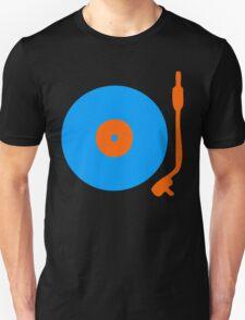 Blue Orange Vinyl Record Turntable Unisex T-Shirt