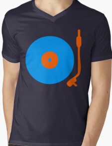 Blue Orange Vinyl Record Turntable Mens V-Neck T-Shirt