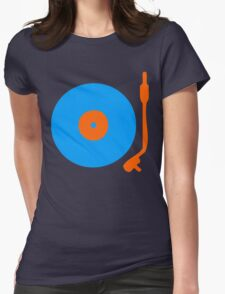 Blue Orange Vinyl Record Turntable Womens Fitted T-Shirt