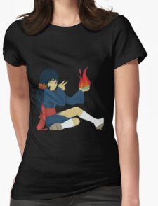 Cyndaquil Gijinka with Fire Womens Fitted T-Shirt