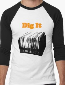 Dig It Vinyl Record Crate Men's Baseball ¾ T-Shirt