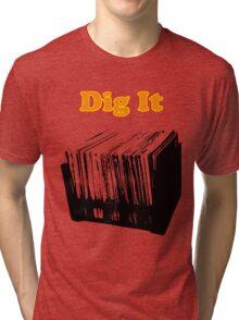 Dig It Vinyl Record Crate Tri-blend T-Shirt
