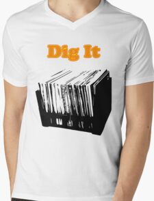 Dig It Vinyl Record Crate Mens V-Neck T-Shirt