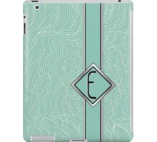 1920s Blue Deco Swing with Monogram letter E iPad Case/Skin