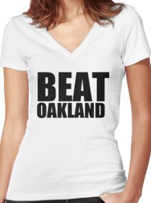 San Francisco Giants - BEAT OAKLAND Women's Fitted V-Neck T-Shirt