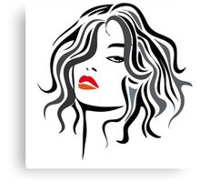 Woman vector hairstyle black design Canvas Print