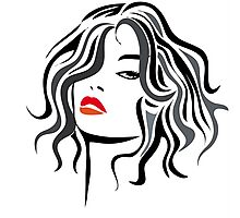 Woman vector hairstyle black design Photographic Print