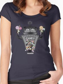 Retro robot colorful candy machine Women's Fitted Scoop T-Shirt