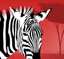Zebra Against a Dramatic Red Background. Sticker