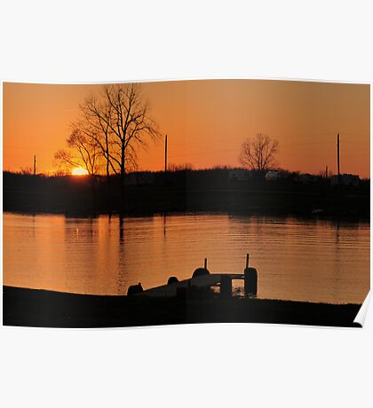 Sunset over Prairie Creek Lake and Campground Poster