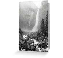 Lower Yosemite Falls in a Spring Snow storm Greeting Card