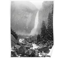 Lower Yosemite Falls in a Spring Snow storm Poster