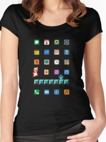 Super Mario iPhone Screen Women's Fitted Scoop T-Shirt