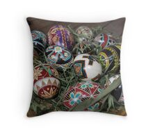 Painted Easter Eggs Throw Pillow