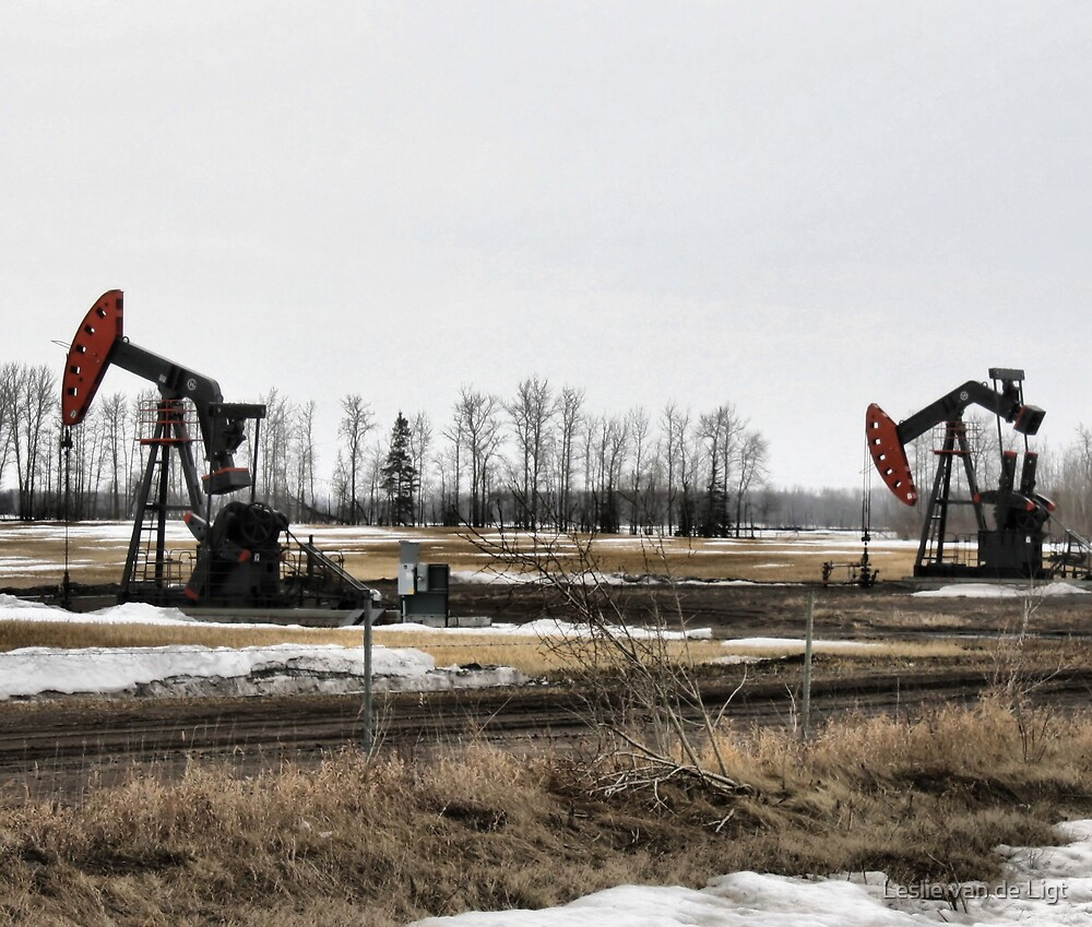 The Twins -  Oil Donkeys - Northern Alberta by Leslie van de Ligt