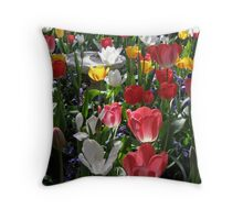 Tulips Dance in Morning Light Throw Pillow