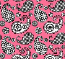 Paisley, coral pink, black and white by Marymarice