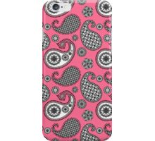 Paisley, coral pink, black and white iPhone Case/Skin