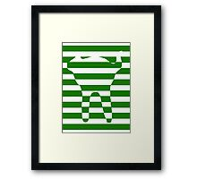 Green striped cat Framed Print