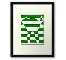 Green striped cat 2 Framed Print
