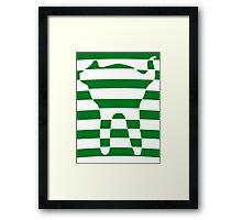 Green striped cat 3 Framed Print