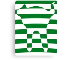 Green striped cat 3 Canvas Print