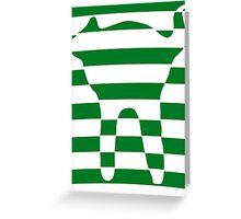 Green striped cat 3 Greeting Card