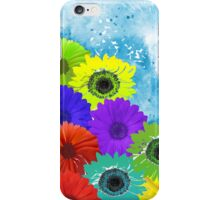 Bright Colorful Flowers on Blue Watercolor iPhone Case/Skin