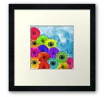 Bright Colorful Flowers on Blue Watercolor Framed Print