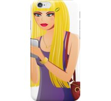 Blonde Girl With a Cell Phone iPhone Case/Skin