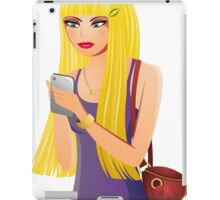 Blonde Girl With a Cell Phone iPad Case/Skin