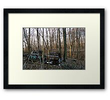 Abandoned Cars in the Woods Framed Print