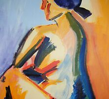Bright bold Seated Nude, Abstract Acrylic Painting, 2008 by emmasm02