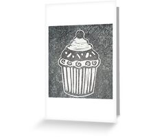 Cupcake, Hand Burnished, Lino Print on Silk Paper. Greeting Card