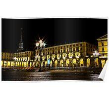 Turin - Vittorio Veneto square with Mole's view Poster