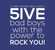 5ive Bad Boys with the Power to ROCK YOU! (original lineup - white version) Womens Fitted T-Shirt