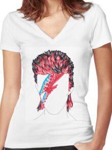 Aladdin Sane  Women's Fitted V-Neck T-Shirt