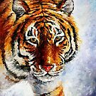 Tiger On The Snow — Buy Now Link - www.etsy.com/listing/200482172 by Leonid  Afremov